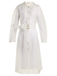 Awake Frosted Pvc Sculpted Hand Buckle Trench Coat White