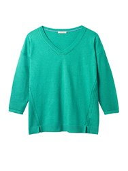 White Stuff Cactus V Neck Jumper Field Green
