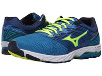 Mizuno Wave Shadow Directoire Blue Safety Yellow Blue Depths Running Shoes