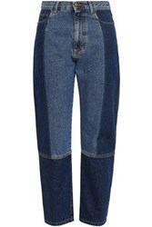 Mcq By Alexander Mcqueen Woman Cropped Two Tone High Rise Straight Leg Jeans Dark Denim