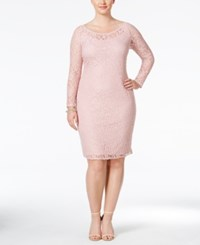 Love Squared Plus Size Long Sleeve Lace Bodycon Dress Blush