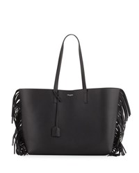 Saint Laurent Large Calfskin Fringe Shopping Tote Bag Black