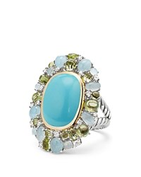 David Yurman Mustique Statement Ring With Turquoise Peridot Milky Aquamarine And Diamonds Blue Green