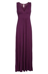 Loveappella Women's V Neck Jersey Maxi Dress Purple Dark