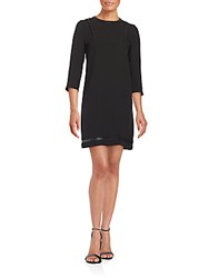 The Kooples Studded Faux Leather Trim Dress Black