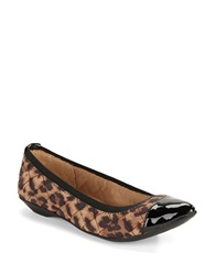 Anne Klein Offered Quilted Cap Toe Flats Leopard Print