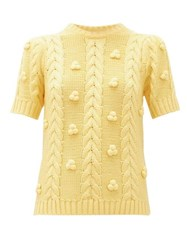 Shrimps Elea Cable Knit Merino Wool Blend Sweater Yellow