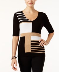 Inc International Concepts V Neck Colorblocked Tunic Sweater Only At Macy's Heather Ginger