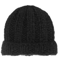 Acne Studios Jewel Knitted Alpaca Blend Beanie Black