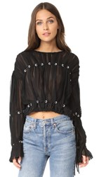 3.1 Phillip Lim Pleated Chiffon Pintuck Blouse Black
