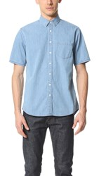 Steven Alan Short Sleeve Masters Shirt Bleach Indigo
