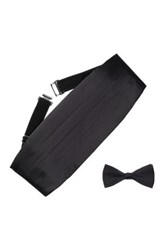 Bristol And Bull Black Silk Cummerbund And Bow Tie Set