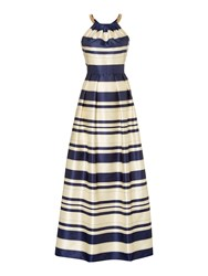 Eliza J Striped Gown With Chain Halter Neck Sapphire And Ivory Sapphire And Ivory