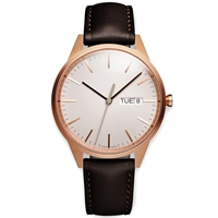 Uniform Wares C40 Calendar Wristwatch Pvd Rose Gold And Brown Leather