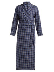 Emma Willis Checked Cotton Robe Blue Multi