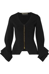 Roland Mouret Draped Stretch Knit Jacket Black