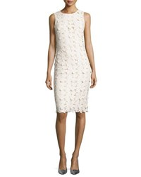 Alice Olivia Fey Faux Leather Lace Sheath Dress Cream