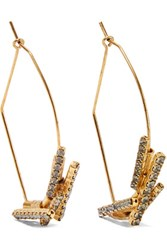 Elizabeth Cole Lori Gold Tone Crystal Earrings