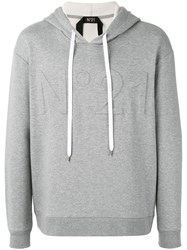 N 21 No21 Logo Hoodie Men Cotton Polyamide M Grey
