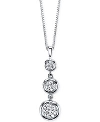 Sirena Diamond Three Stone Drop Pendant Necklace 1 2 Ct. T.W. In 14K White Gold