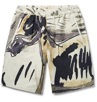 Folk Goss Brothers Orpheus Printed Linen And Cotton Blend Shorts Neutral