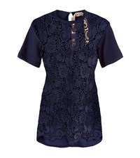 N 21 No. Lace Front T Shirt Female Navy