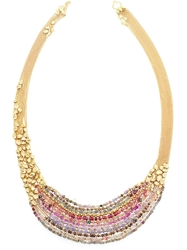 Natasha Collis Hand Melted 18Kt Yellow Gold Collar Necklace Multicolour
