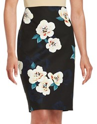 Lord And Taylor Petite Moonlight Floral Pencil Skirt Moonless Night
