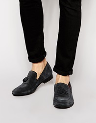 Base London Larkin Suede Tassle Loafers Blue