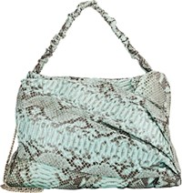 Zagliani Python Frida Shoulder Bag Blue