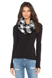 Plush Plaid Infinity Scarf Black And White