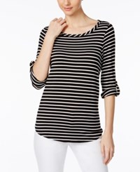 Cable And Gauge Tab Sleeve Striped Top Black White Stripe