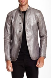 John Varvatos Genuine Calf Leather Whipstitch Jacket Metallic
