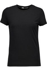 Y 3 Printed Cotton Blend Jersey T Shirt Black