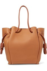 Loewe Flamenco Small Textured Leather Tote Tan