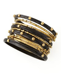 Shaba Bangle Set Dark Horn Ashley Pittman Bronze