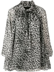 Redemption Bell Sleeve Leopard Blouse Grey