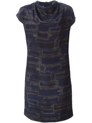 Stephan Schneider Draped Collar Printed Dress Blue