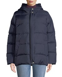 Eileen Fisher Quilted Nylon Hooded Down Puffer Coat Midnight