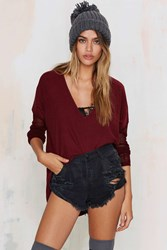 Nasty Gal Glamorous Piper Asymmetric Sweater Burgundy