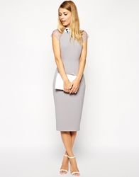 Asos Pencil Dress With Lace Sleeve And Embellished Collar Grey