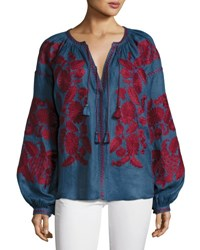 Vita Kin Puff Sleeve Embroidered Peasant Blouse Blue Red Blue Red