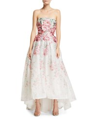Monique Lhuillier Strapless Rose Print Cloque Gown White
