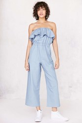Lucca Couture Strapless Chambray Jumpsuit Light Blue