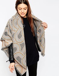 Asos Square Scarf With 70S Swirl Jacquard Grey