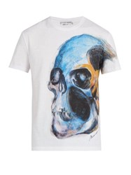 Alexander Mcqueen Skull Print Short Sleeve Cotton T Shirt White Multi