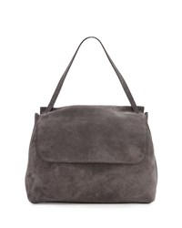 The Row Top Handle 14 Suede Satchel Bag Pewter Blue Pattern