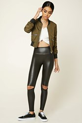 Forever 21 Faux Leather Ripped Leggings