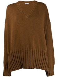 P.A.R.O.S.H. Oversized Knitted Sweater Brown