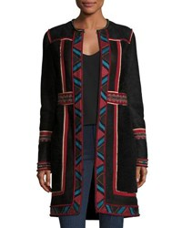 Talitha Collection Embroidered Lamb Shearling Coat Black